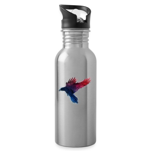 Watercolor Raven - Trinkflasche mit integriertem Trinkhalm