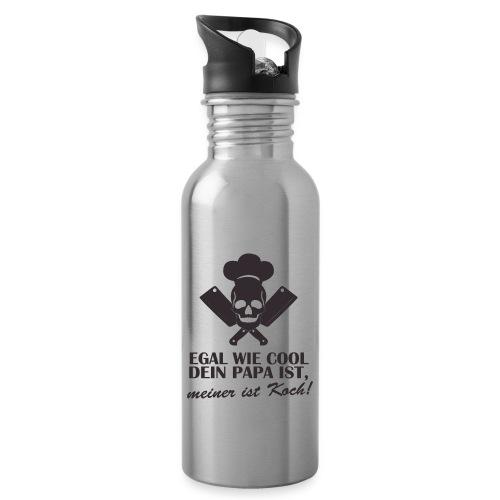 Egal wie cool Dein Papa ist, meiner ist Koch - Trinkflasche mit integriertem Trinkhalm