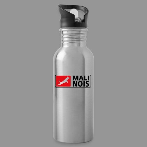 Malinois logo fuer weissen Grund - Trinkflasche mit integriertem Trinkhalm