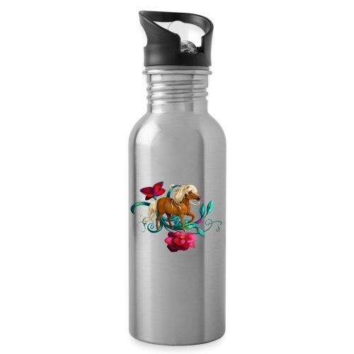 Kamelien Pony - Trinkflasche mit integriertem Trinkhalm