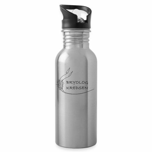 Bryologkredsen - sort logo - Drikkeflaske med integreret sugerør