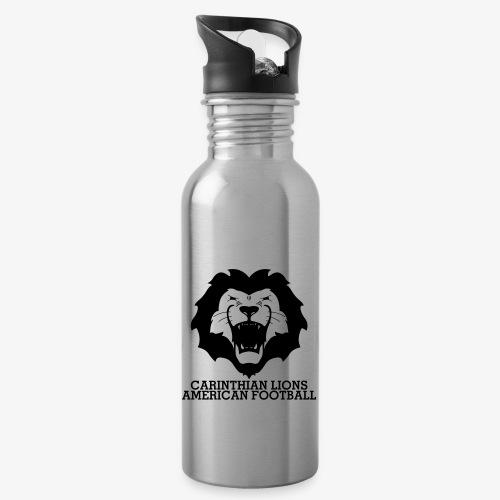 AllBlackLionsHead_Schrift - Trinkflasche mit integriertem Trinkhalm