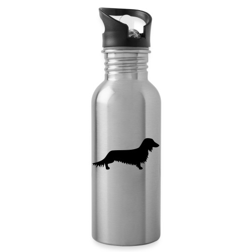 Langhaardackel - Trinkflasche mit integriertem Trinkhalm