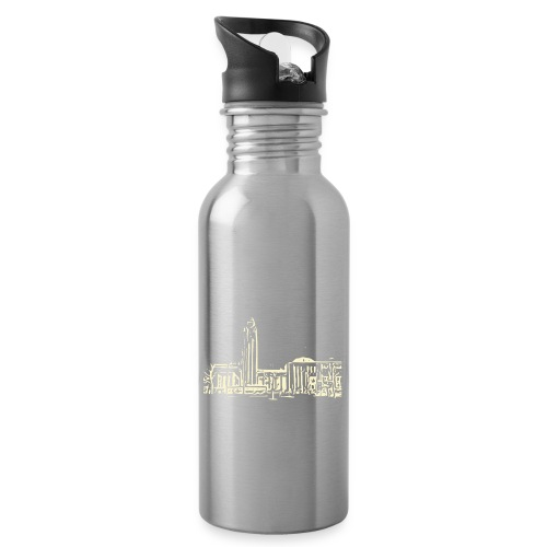 Helsinki railway station pattern trasparent beige - Water bottle with straw