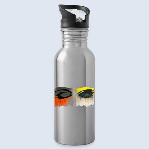 Closed Eyes Berlin PopArt ickeshop BachBilder - Trinkflasche mit integriertem Trinkhalm