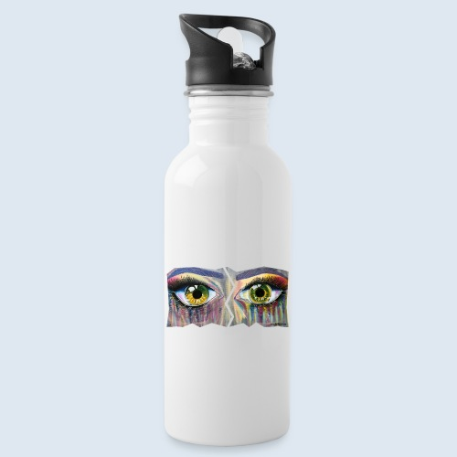 """Augenblick """"open eyes"""" made in Berlin - Trinkflasche mit integriertem Trinkhalm"""