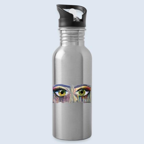 Open Eyes Berlin PopArt ickeshop BachBilder - Trinkflasche mit integriertem Trinkhalm