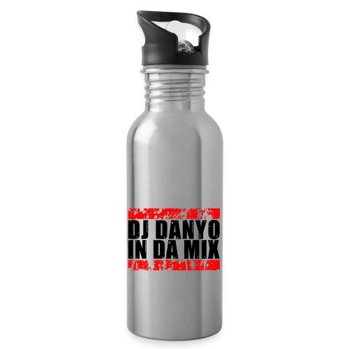 DJ Danyo Logo weiß - Trinkflasche mit integriertem Trinkhalm