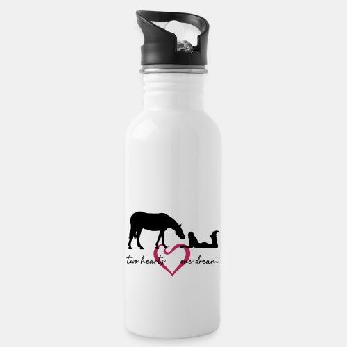 two hearts one dream liegendes Mädchen Pferd - Trinkflasche mit integriertem Trinkhalm