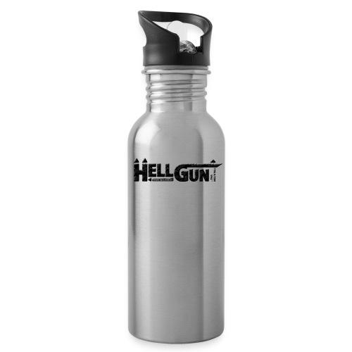 HELLGUN logo 2014 schwarz png - Trinkflasche mit integriertem Trinkhalm
