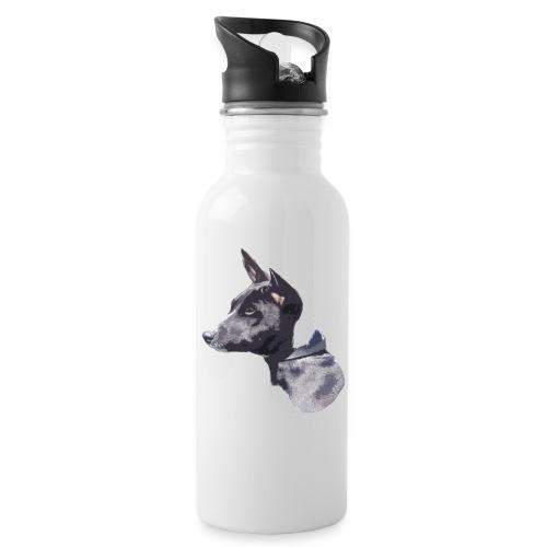 basenji black - Drikkeflaske med integreret sugerør