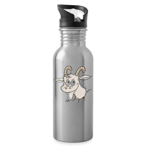 Steinbock - Trinkflasche mit integriertem Trinkhalm