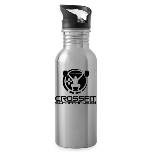 CFSlogo_white_BIG - Trinkflasche mit integriertem Trinkhalm