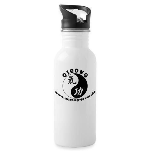 backup of logo klein grau ohne umriss - Trinkflasche mit integriertem Trinkhalm