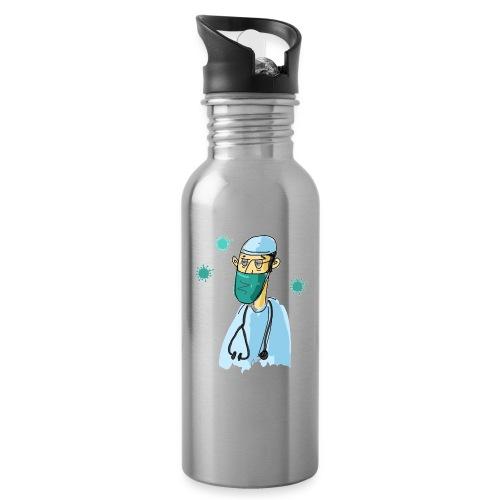 Cartoon Doktor Geschenkidee gezeichnet - Trinkflasche mit integriertem Trinkhalm