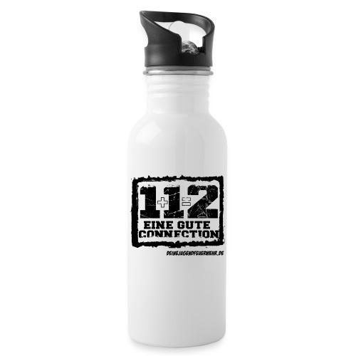 1+1=2 Logo - Trinkflasche mit integriertem Trinkhalm