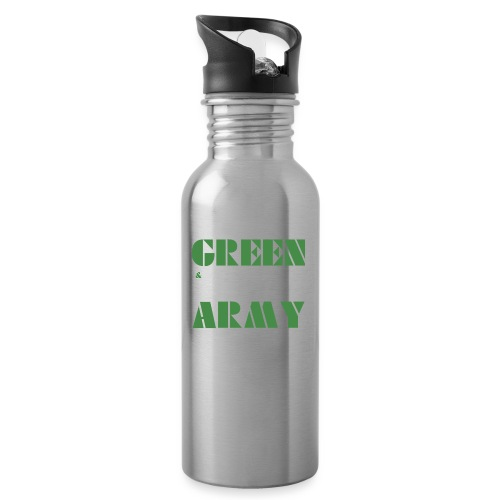 GREEN & WHITE ARMY - Water bottle with straw