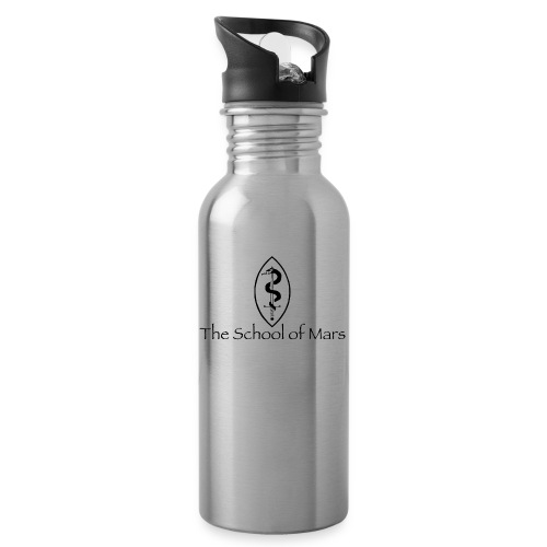 SoM Crest (Black) w/ Text - Water bottle with straw