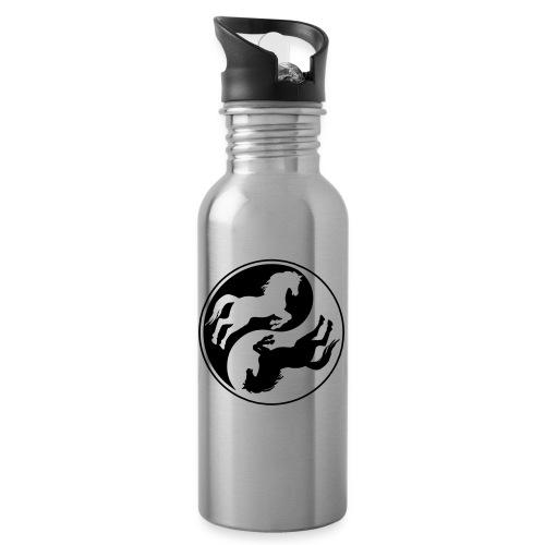 Vorschau: Horse Ying Yang - Trinkflasche mit integriertem Trinkhalm