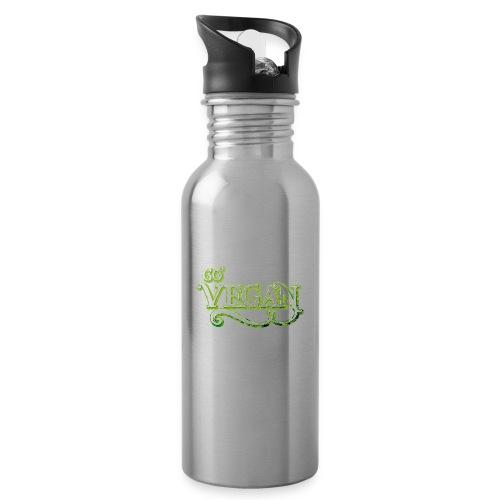 GO VEGAN - Water bottle with straw