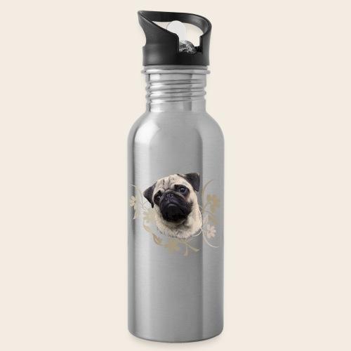 Mops Portrait - Trinkflasche mit integriertem Trinkhalm