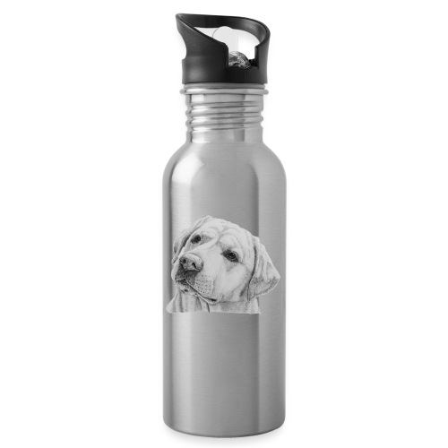 labrador retriever yellow - head - Drikkeflaske med integreret sugerør