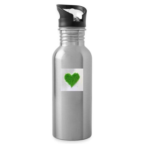 Herzrasen Button - Trinkflasche mit integriertem Trinkhalm