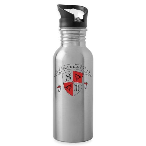 SD logo - hvide lænker - Drikkeflaske med integreret sugerør