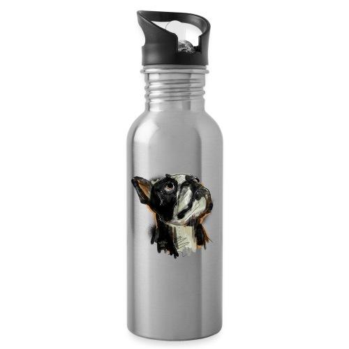 Französische Bulldogge Zeichnung - Trinkflasche mit integriertem Trinkhalm