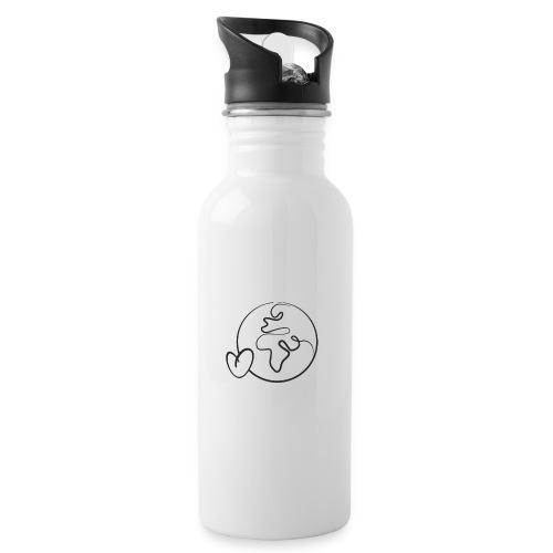 Oceanhearts World Icon - Trinkflasche mit integriertem Trinkhalm