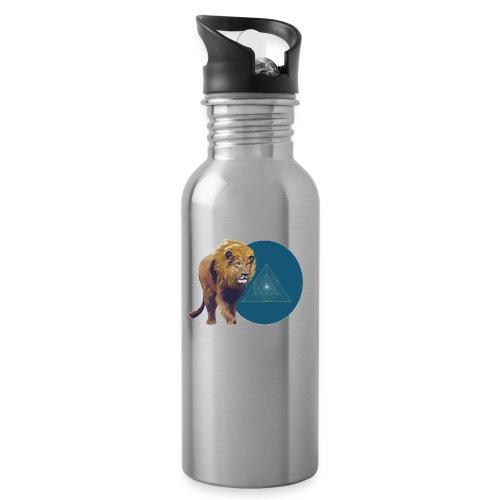 Löwe - Trinkflasche mit integriertem Trinkhalm