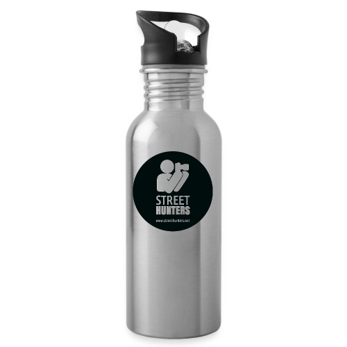 white logo on black circle URL png - Water bottle with straw