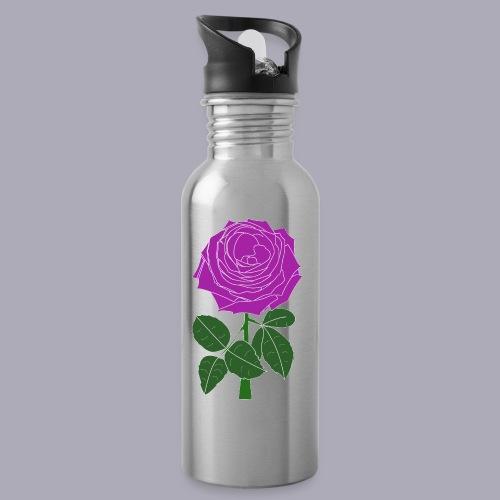 Landryn Design - Pink rose - Water bottle with straw