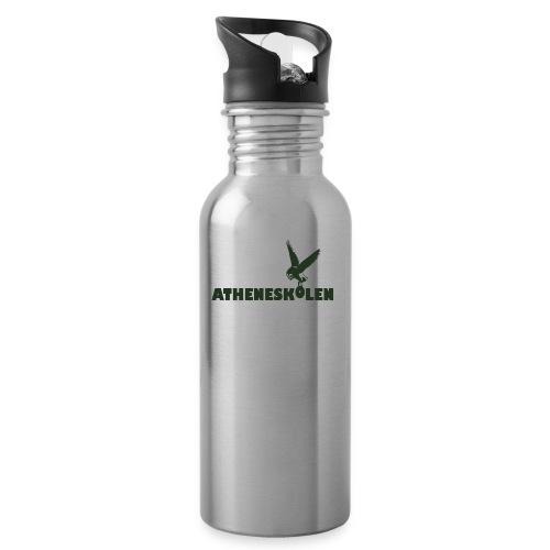 Mørkt logo - Drikkeflaske med integreret sugerør