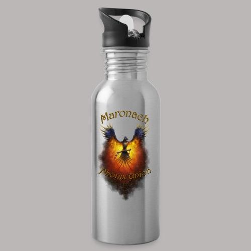Maronach-und-Logo - Trinkflasche mit integriertem Trinkhalm