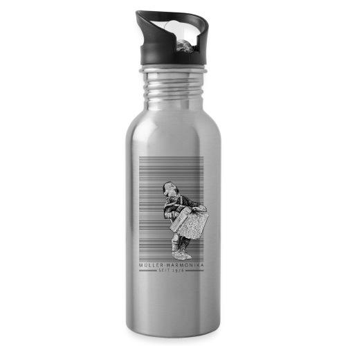 Der Bub mit der Harmonika - Trinkflasche mit integriertem Trinkhalm