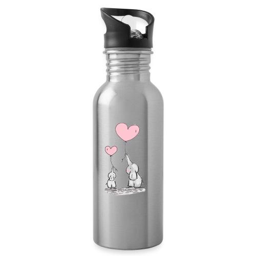 cute elephants - Water bottle with straw