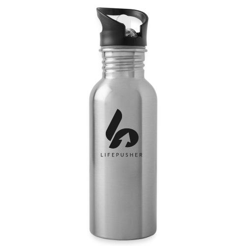 Lifepusher Logo Schwarz mit Text - Trinkflasche mit integriertem Trinkhalm