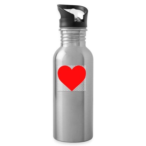 Hjärta - Vattenflaska med integrerat sugrör