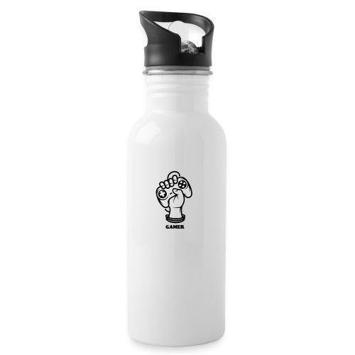 Gamer - Trinkflasche mit integriertem Trinkhalm