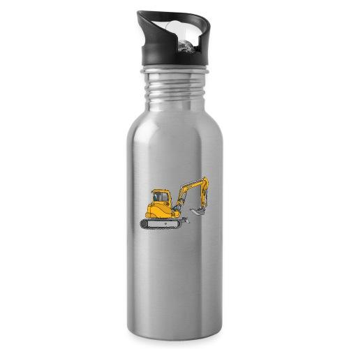 BAGGER, gelbe Baumaschine mit Schaufel und Ketten - Trinkflasche mit integriertem Trinkhalm