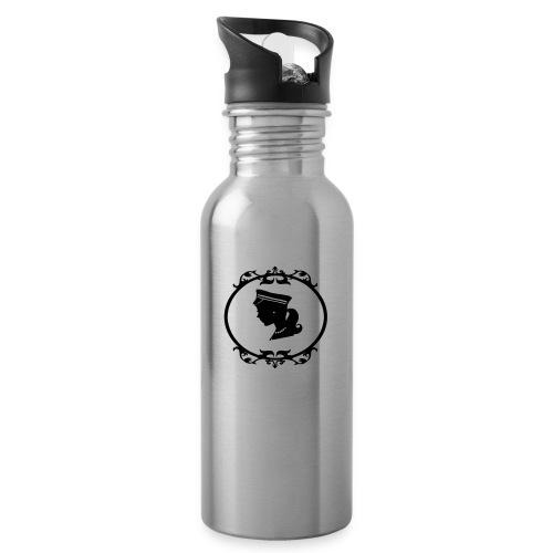 Mädel oval 1 farbig - Trinkflasche mit integriertem Trinkhalm
