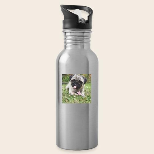 Mops Wiese - Trinkflasche mit integriertem Trinkhalm