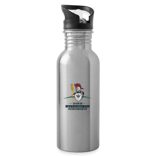 Revierverteidiger rot - Trinkflasche mit integriertem Trinkhalm