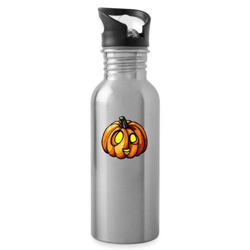 Pumpkin Halloween watercolor scribblesirii - Trinkflasche mit integriertem Trinkhalm