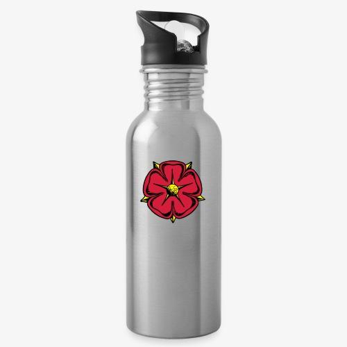 Lippische Rose - Trinkflasche mit integriertem Trinkhalm