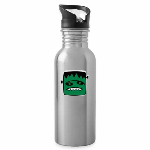 Fonster Weisser Rand ohne Text - Trinkflasche mit integriertem Trinkhalm