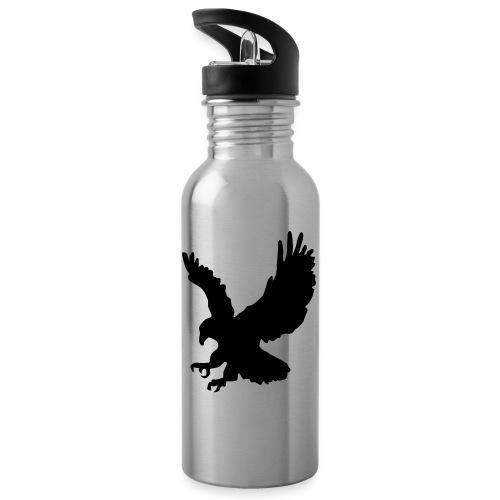 Adler einfarbig - Trinkflasche mit integriertem Trinkhalm