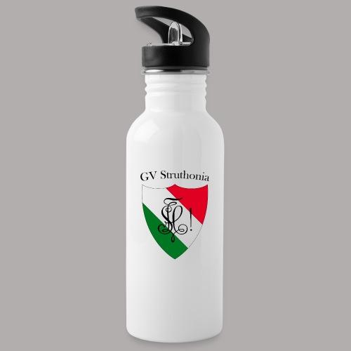 Wappen Struthonia beschriftet - Trinkflasche mit integriertem Trinkhalm