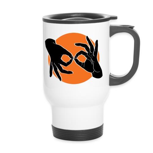 Deaf Interpreter black / orange - Thermobecher mit Tragegriff